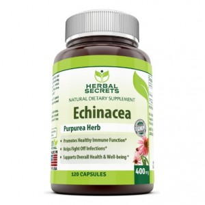 Herbal Secrets Echinacea Supplement 400 mg Capsules Made from 100 percent Pure Echinacea Purpurea Root and Plant Extract Healthy Immune Function and overall Well being