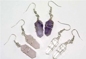 3 Pair Double Terminated Wire Wrapped Crystal Point Earrings