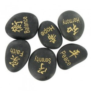Black Inspirational Kanji Engraved River Stones