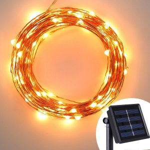 Solar Powered Copper Wire Lights - AVAWO® 33ft 100 LEDs Starry String Lights, Copper Wire Lights Ambiance Lighting for Outdoor, Gardens, Homes, Dancing,