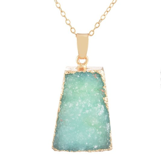 MJARTORIA Gold Color Bezel Raw Natural Stone Healing Power Green Quartz Pendant Druzy Necklace