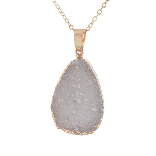 MJARTORIA Gold Color Bezel Teardrop Raw Natural Stone Grey Quartz Pendant Healing Druzy Necklace
