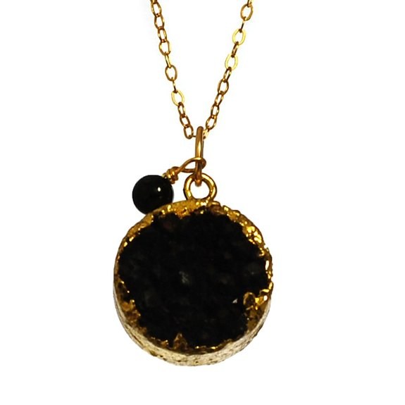 NY6design Black Druzy Agate & Onyx Pendant Necklace wGold Plated Chain & Clasp 16