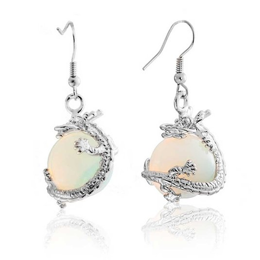 Bling Jewelry Simulated Opalite Glass Orb Dragon Earrings Rhodium Plated