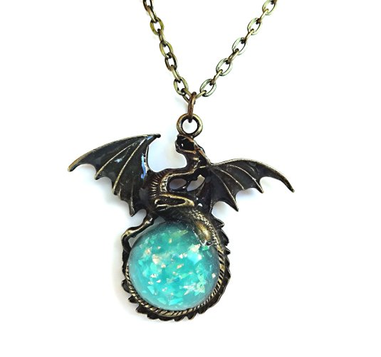 Glow in the Dark Bronze Dragon Necklace Charm with Glowing Blue Sparkle Orb Uv Flashlight Included