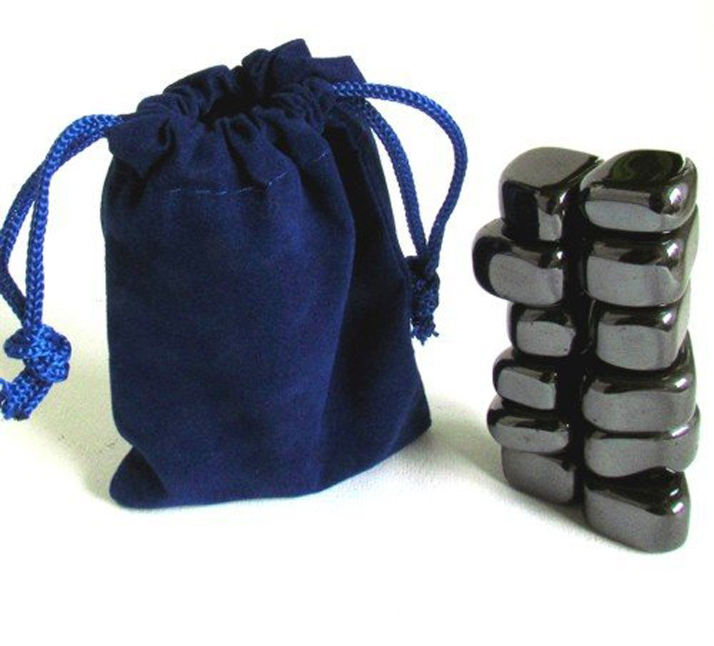 Hematite Magnetic Tumbled Polished Sticky Stones, 12 Pieces in Blue Velvet Bag.
