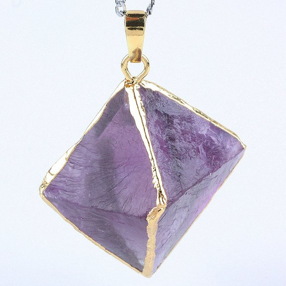 SUNYIK Natural Crystal Quartz Rhombus Pendant Pointed Healing Stone for Necklace
