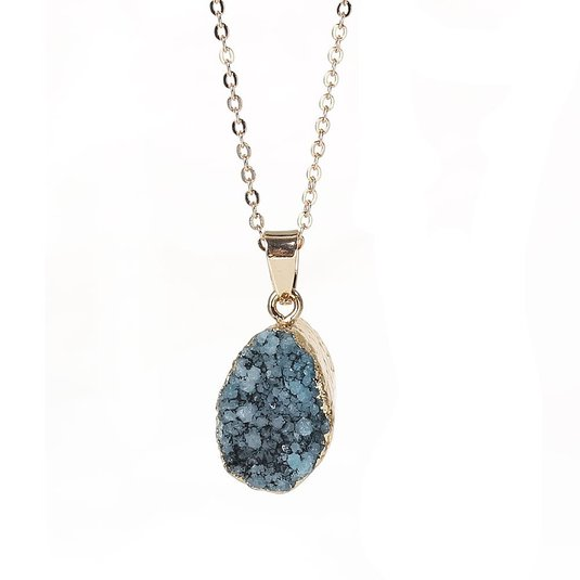 Sexy Sparkles Natural Stone Druzy Drusy Necklace Pendant Link Cable Chain