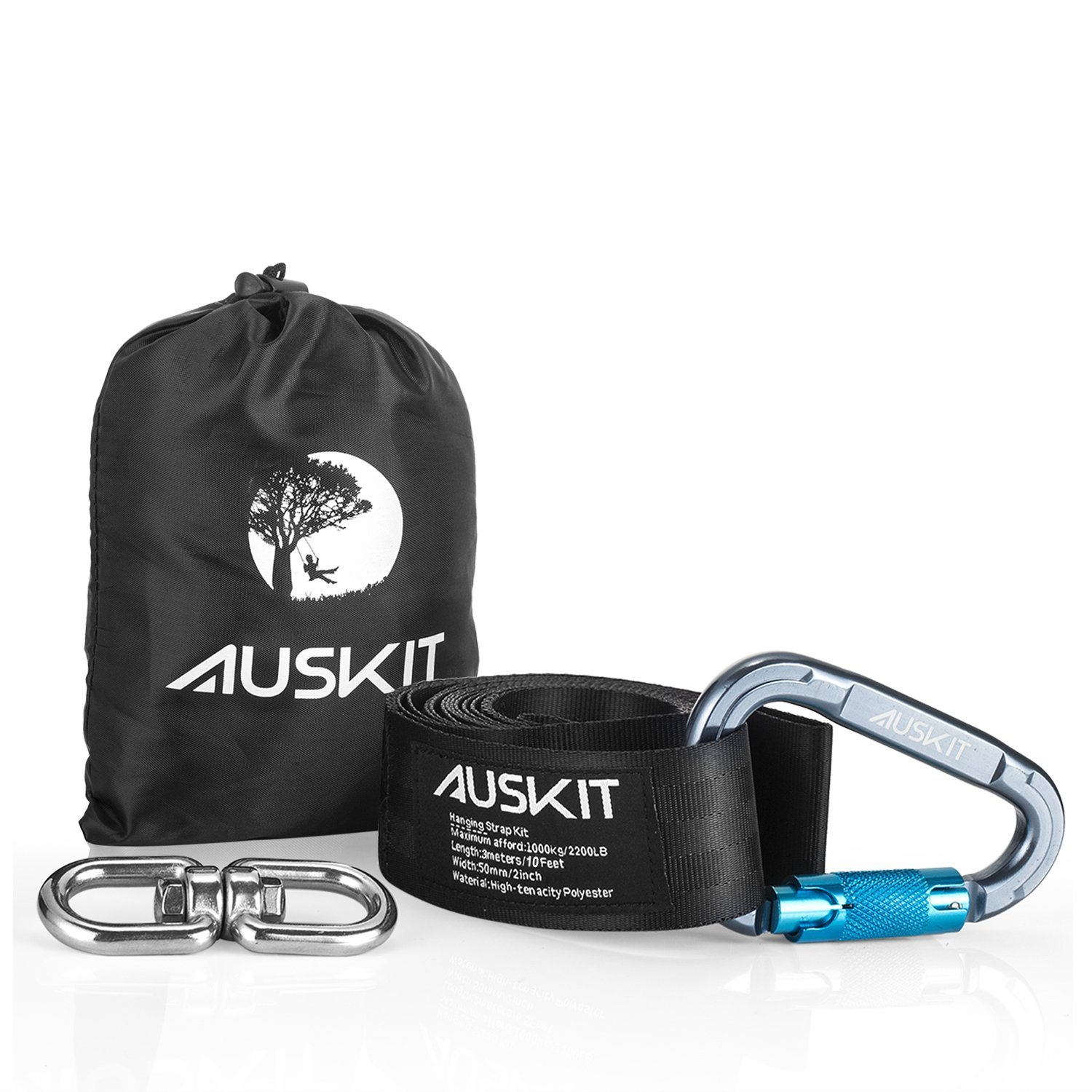 Tree Swing Hanging Strap Kit, AusKit Swing Strap(10 FT) with Screw Lock Snap Carabiner Hook and Heavy Duty Double Loop Spinning Swivel,Easy Installation and Removal On Trees