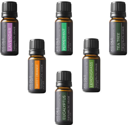 Aromatherapy Top 6 100% Pure Therapeutic Grade Basic Sampler Essential Oil Gift Basic sampler essential oil gift set l lavender, sweet orange, peppermint, lemongrass, tea tree, eucalyptus