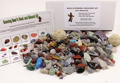 rock-mineral-collection-activity-kit-over-150-pcs-with-educational-identification-sheet-plus-2-easy-break-geodes-fossilized-shark-teeth-and-arrowheads