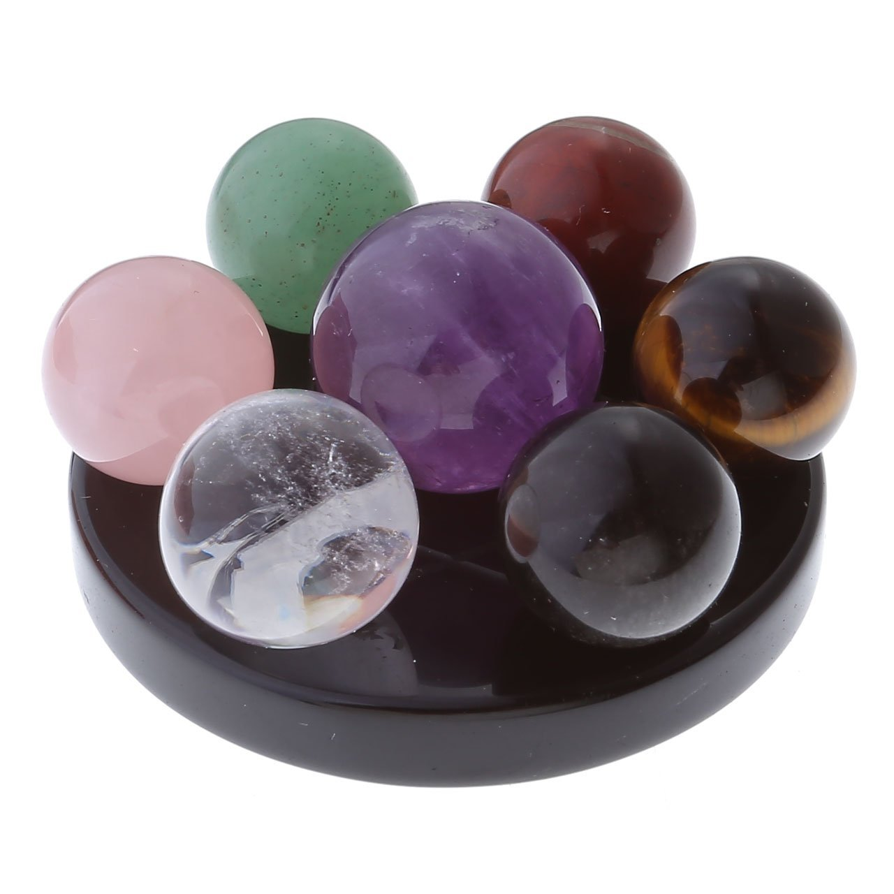 energy gemstone balls on obsidian base 7 healing