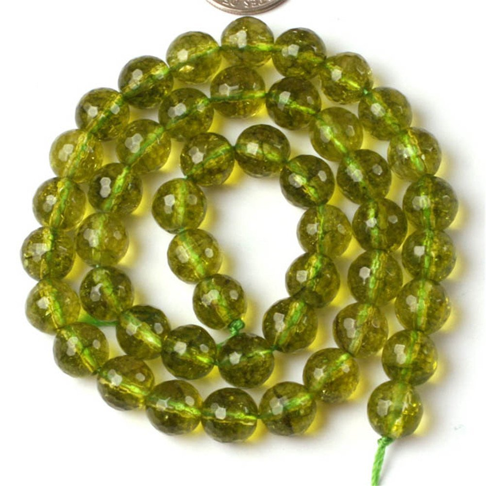 Shg 8mm round faceted green peridot beads natural gemstone for Birthstone beads for jewelry making